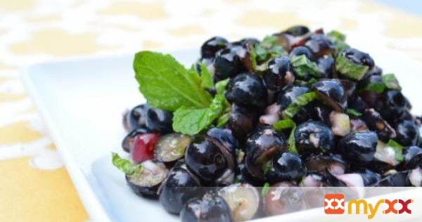 Blueberry Ginger Salsa with Grilled Halibut