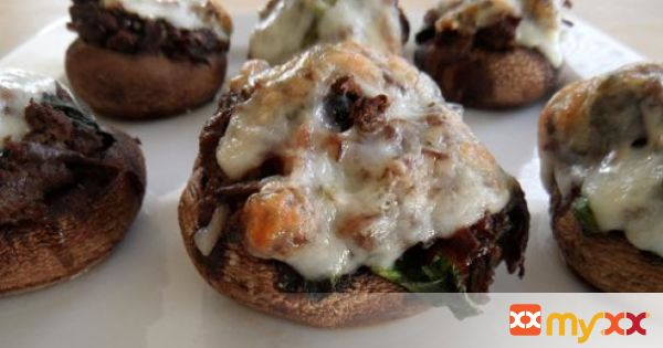Meat & Spinach-Stuffed Portabella Mushrooms with Goat Cheese
