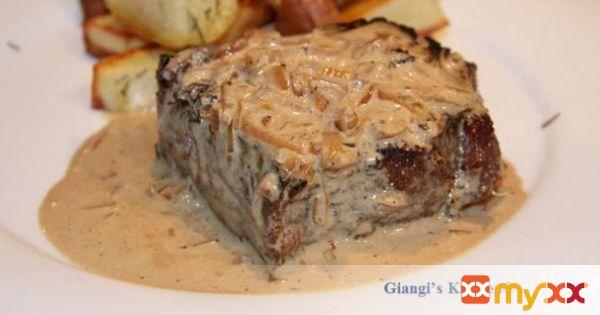 Pan Seared New York Steak with Whiskey Cream Sauce