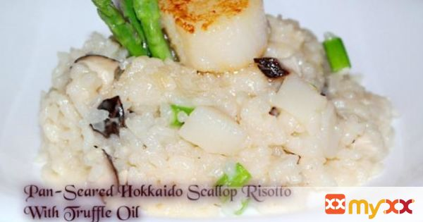 Pan-Seared Hokkaido Scallop Risotto With Truffle Oil