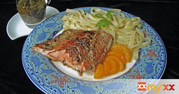 Orange Balsamic Salmon Over Pasta