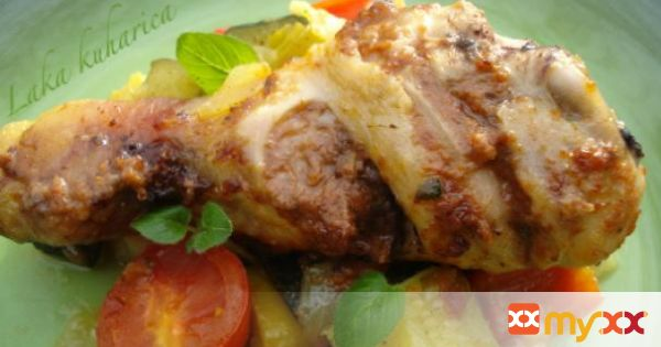 Pesto grilled chicken drumsticks with mixed vegetables