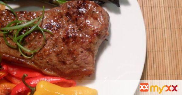 New York Strip Steak w Asparagus & Mini Bell Peppers