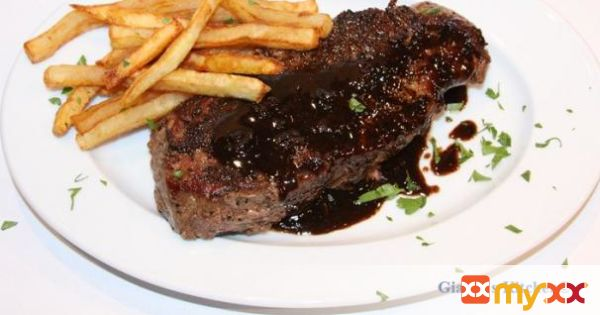 New York Steak au Poivre with Balsamic Reduction