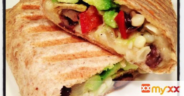 Pressed Bean, Veggie & Cheddar Burrito