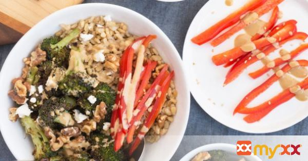 Roasted Broccoli Bowls with Creamy Tahini Dressing
