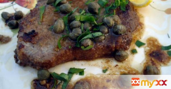 Steak with lemon and capers