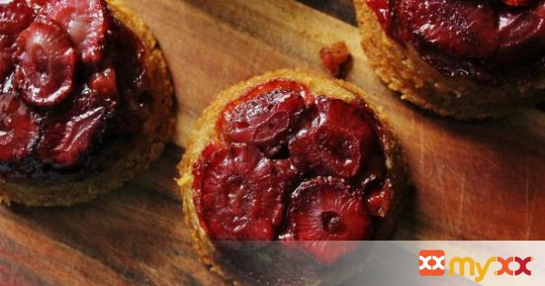 Strawberry Upside Down Cakes with Vanilla Bean