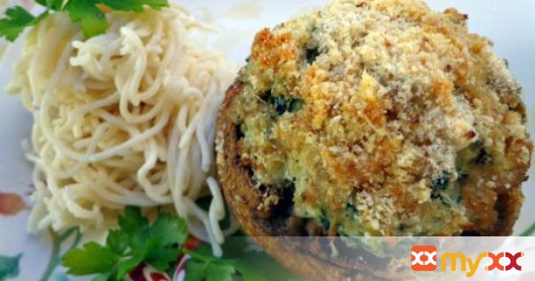Stuffed mushrooms and Chow Mein noodles