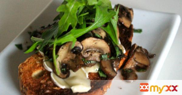 Warm Open-Faced Mushroom Brie Sandwich