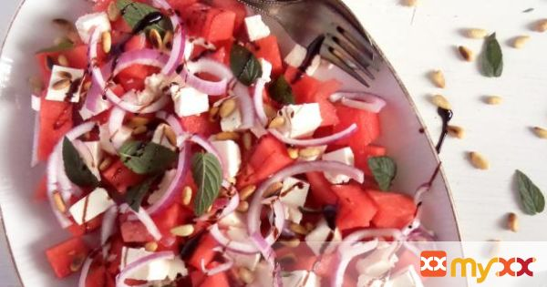 Watermelon, Feta, Mint Salad
