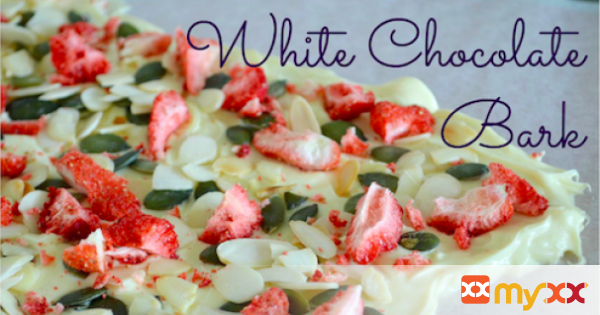 White Choc Bark with freeze-dried strawberries, almonds & pumpkin seeds