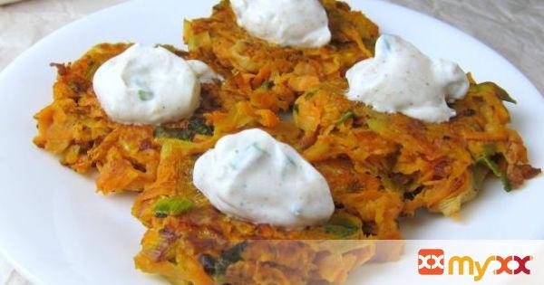 Sweet Potato Latkes with Cumin-Garlic Yogurt Topping