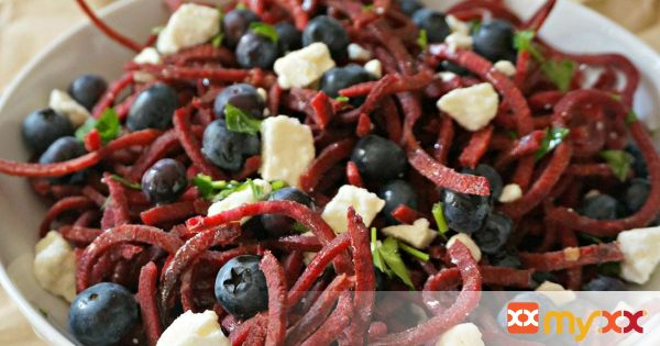Beet Noodle Salad with Blueberries and Feta