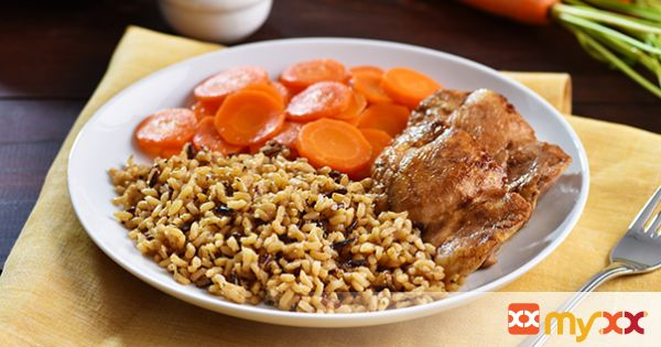 Balsamic Chicken Thighs with Sliced Carrots and Wholegrain Wild Rice