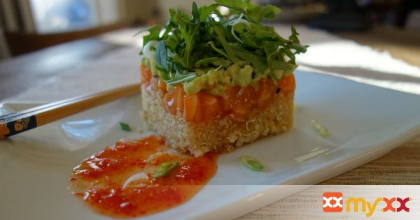 Quinoa Salmon Wasabi Avocado Tower