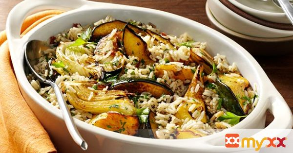 Balsamic Roasted Fennel & Acorn Squash Rice Casserole