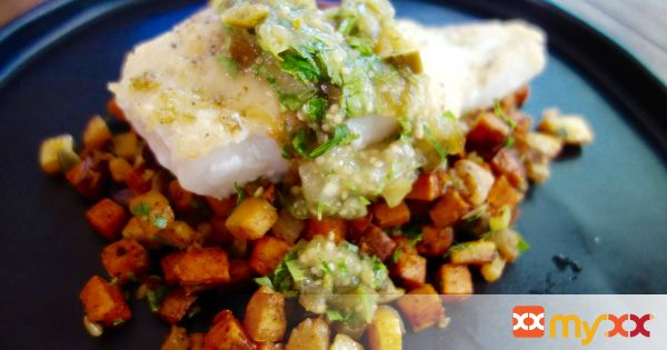 Pan Seared Cod with Southwest Sweet Potato Hash