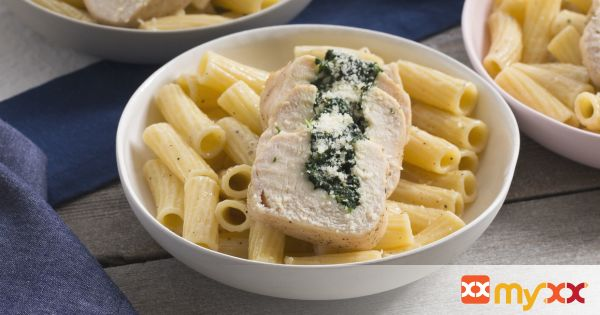 Chicken Rollatini with Spinach & Cheesy Elicoidali Pasta