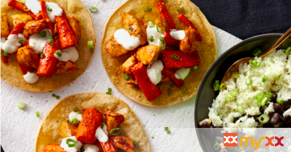 Spicy Honey-Lime Chicken Tostadas with Rice & Beans