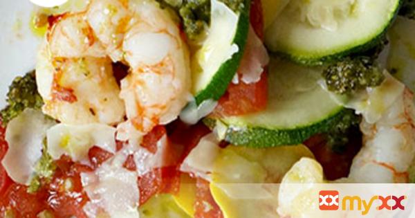 Summer Vegetable and Shrimp Pesto Bake