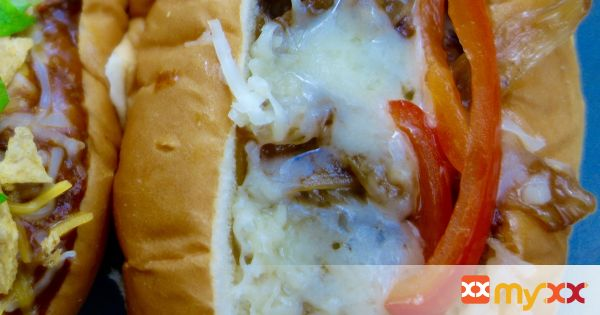 Hot Dogs Topped with Caramelized Onions and Roasted Peppers