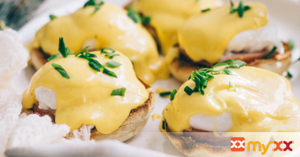 Eggs Benedict with Turmeric Brown Butter Hollandaise