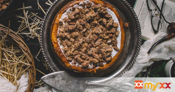 Pumpkin & Brown Butter Cheesecake with Bourbon Candied Pecans