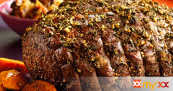 New York Strip Loin Roast with Garlic Herb Crust