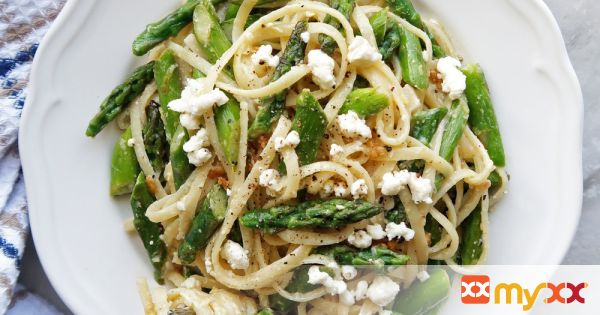 Lemon Feta Linguine with Garlic Asparagus