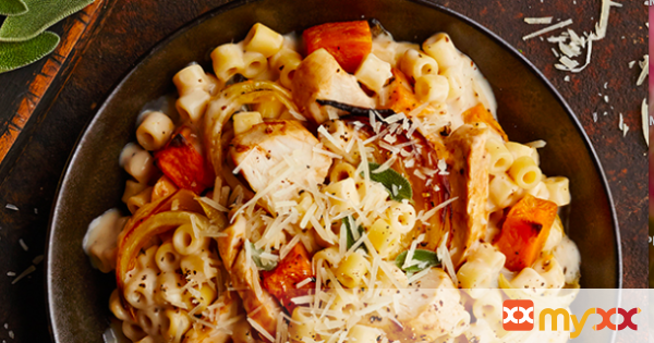 Sweet Potato Chicken Alfredo Pasta