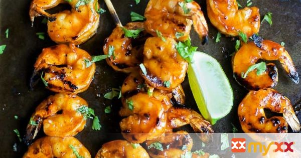 Honey Sriracha Grilled Shrimp