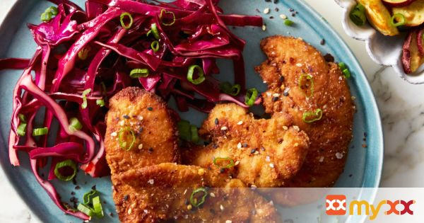 Soy-Marinated Chicken Tenders with Japanese Sweet Potatoes & Sweet Chili Slaw
