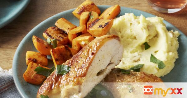 Roasted Chicken with Goat Cheese Mashed Potatoes & Sautéed Carrots