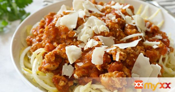 Squash Noodles with Turkey Marinara