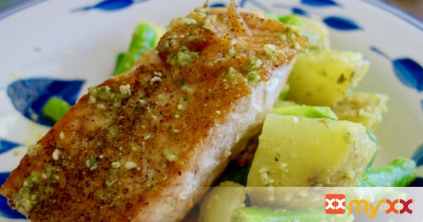 Pan Seared Salmon with Pesto Potato Salad