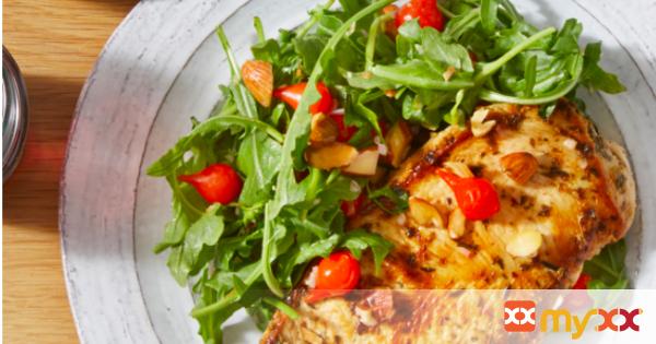 Vinaigrette-Marinated Chicken with Baby Greens & Pasta Salad