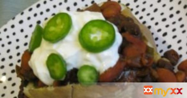 Baked Potato Smothered in Homemade Bean Chili