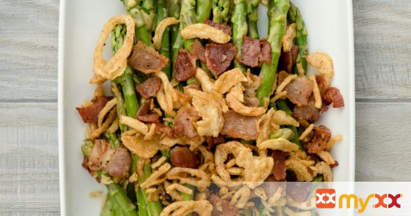 Mustard Glazed Asparagus with Bacon and Crispy Onions