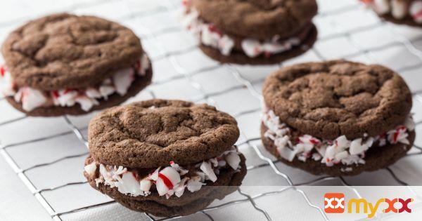 Triple Chocolate Peppermint Sandwich Cookies