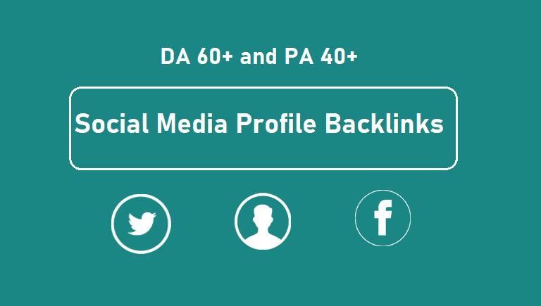 Get 30 high quality DA 60+ and PA 40+ social media profile backlinks