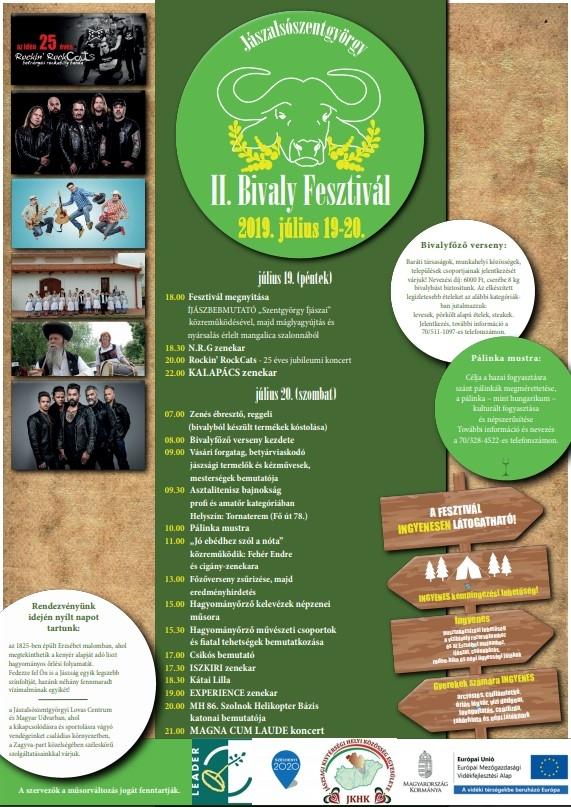 Bivály fesztivál 2019-es plakát, programok