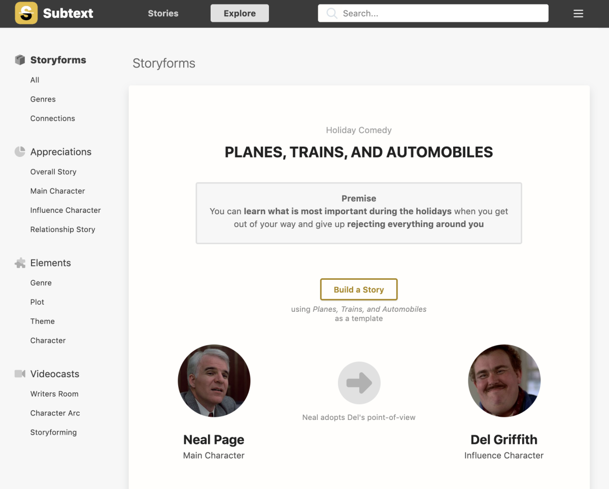 Planes, Trains, and Automobiles Storyform
