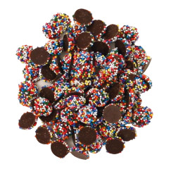 NASSAU CANDY DARK CHOCOLATE MINI NONPAREILS WITH RAINBOW SEEDS