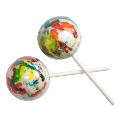 CLEVER CANDY WHITE PSYCHEDELIC JAWBREAKER ON A STICK 2.25 INCHES