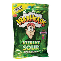 WARHEADS EXTREME SOUR ASSORTED HARD CANDY 2 OZ PEG BAG
