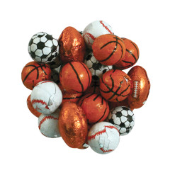 CHOCOLATE FLAVORED FOILED ASSORTED SPORTS BALLS