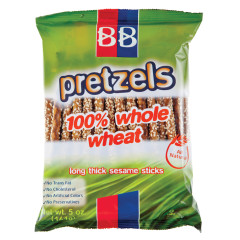 B&B 100% WHOLE WHEAT SESAME PRETZEL STICKS 5 OZ BAG