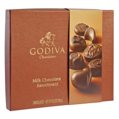 GODIVA MILK CHOCOLATE ASSORTMENT 6.8 OZ BOX