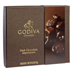 GODIVA DARK CHOCOLATE ASSORTMENT 6.2 OZ BOX